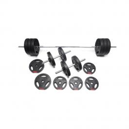 BodyRip Chrome Bar Dumbbell Weights Set 20KG Spinlock Collars Vinyl Coated Gym