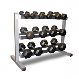 Body-Solid 3 Tier Rack & Body Power 2,4,6,8,10,12.5 & 15kg Rubber Hex Dumbbell Set