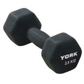 York 2.5Kg Neoprene Hex Dumbbell (x1)