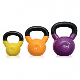 Body Power 4kg, 8kg, 12kg Vinyl Coated Kettlebell Set