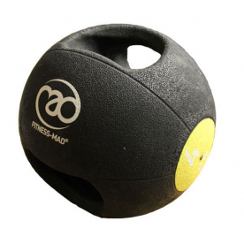 Fitness-MAD 4kg Double Grip Medicine Ball - Yellow