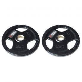 Body Power 10Kg Rubber Encased Tri Grip Olympic Weight Plates (x2)