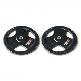 Body Power 10Kg Rubber Encased Tri Grip Standard Weight Plates (x2)