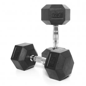 Body Power 15Kg Rubber Hex Dumbbells (x2)