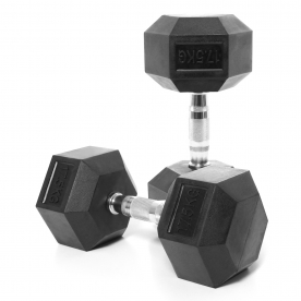 Body Power 17.5Kg Rubber Hex Dumbbells (x2)