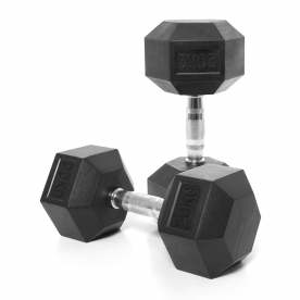 Body Power 20Kg Rubber Hex Dumbbells (x2)