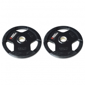 Body Power 15Kg Rubber Encased Tri Grip Olympic Weight Plates (x2)
