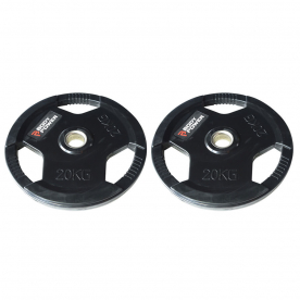 Body Power 20Kg Rubber Encased Tri Grip Olympic Weight Plates (x2)