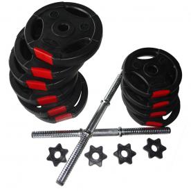 Body Power 21Kg Tri Grip VINYL Dumbbell Weight Set
