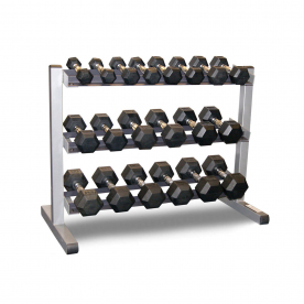 Body-Solid 3 Tier Rack & Bodypower 10,12.5,15,17.5,20,22.5 & 25kg Rubber Hex Dumbbell Set
