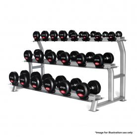 Jordan Fitness 10 Pair 3 Tier Dumbbell Rack With Saddles (Oval Silver Frame)