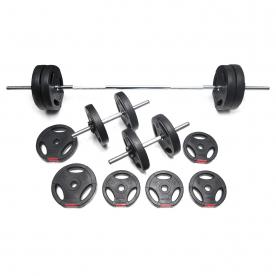 Body Power 42kg Tri-Grip Vinyl Weight Set with 2 Piece Bar