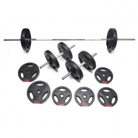Body Power 32kg Tri-Grip Vinyl Weight Set with 2 Piece Bar