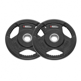 Body Power 1.25Kg Rubber Encased Tri Grip Standard Weight Plates (x2)