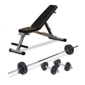 Powerline Folding FID Utility Bench + Body Power 52kg 7ft Combi Standard Weight Set