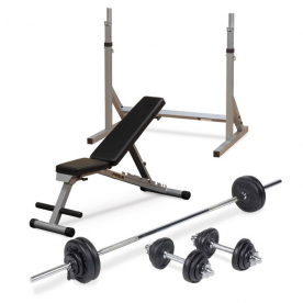 Powerline Folding FID Utility Bench + Body Power 52kg 7ft Combi Standard Weight Set + Squat Stand