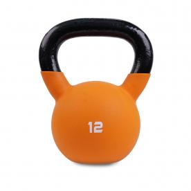Body Power 12kg Neoprene Covered Kettlebell (Orange)
