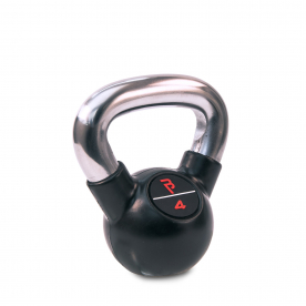 Body Power 4kg Black Rubber Coated Kettlebell with Chrome Handle