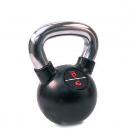 6kg Black Rubber Kettlebell with Chrome%