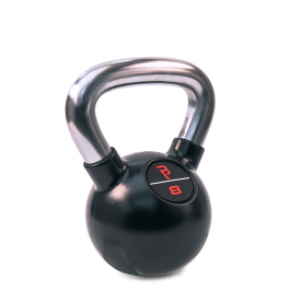 Body Power 8kg Black Rubber Coated Kettlebell with Chrome Handle