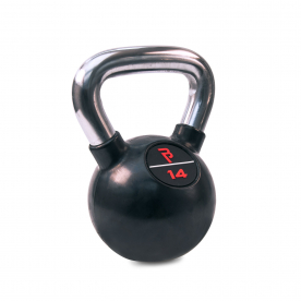 Body Power 14kg Black Rubber Kettlebell with Chrome Handle