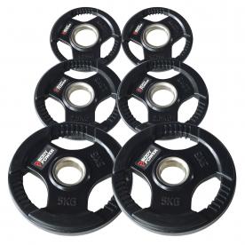 Body Power 17.5Kg Rubber Encased Tri Grip Olympic Disc Progression Kit