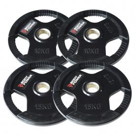Body Power 50Kg Rubber Encased Tri Grip Olympic Disc Kit