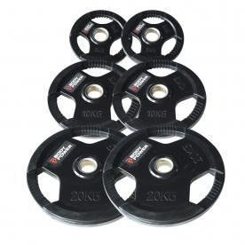 Body Power 70kg Rubber Encased Tri Grip Olympic Disc Kit