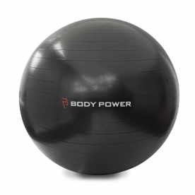 Body Power 75cm Gym Ball With Pump (300Kg Burst Resistant) Black