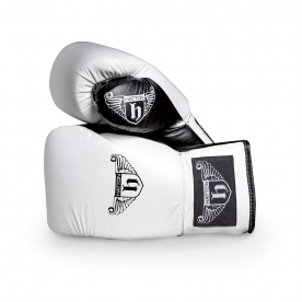Hatton Pro Leather Lace Up Gloves (pair) white 14oz