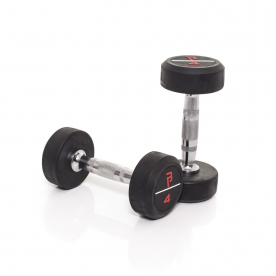 Body Power 4Kg Pro Rubber Dumbbells (x2)