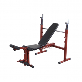 Best Fitness Folding Olympic Bench with Leg Developer -RED