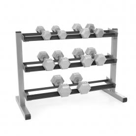 Body-Solid 3 Tier Rack & Bodypower Hex Dumbbells  - 5,7,10,12.5 & 15Kg