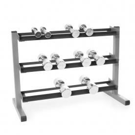 Body-Solid 3 Tier Rack & Bodypower Ergo Chrome Dumbbells - 2,4,6,10 & 12.5Kg
