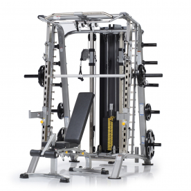 TuffStuff CSM-725WS Evolution Series Light Commercial Smith Machine, Dual Adjustable Pulley & Bench Package