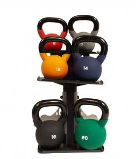 Body Power Neoprene Kettlebell & Body-Solid Rack Package (8Kg,10Kg, 12Kg, 14Kg, 16Kg & 20Kg)