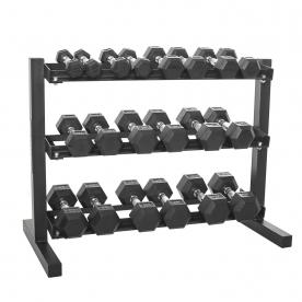 "Body Power 1-10Kg Rubber Hex D/bell Set & 40"" 3 Tier Rack"