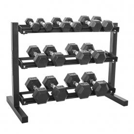 "Body Power 2,4,6,8,10,12.5 & 15Kg Rubber Hex D/bell Set & 40"" 3 Tier Rack"