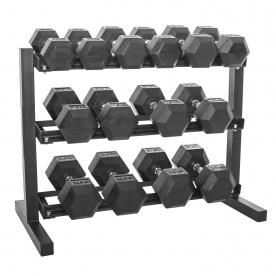 "Body Power 10,12.5,15,17.5,20,22.5 & 25Kg Rubber Hex D/bell Set & 40"" 3 Tier Rack"