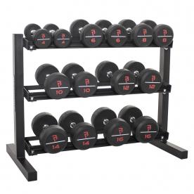"Body Power 4,6,8,10,12,14 & 16Kg Pro Style Rubber D/bell Set & 40"" 3 Tier Rack"