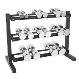 "Body Power 2,4,6,8,10,12.5,15 & 17.5Kgs Ergo Chrome D/bell Set & 40"" 3 Tier Rack"