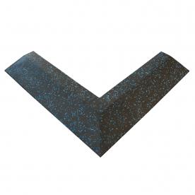 Body Power 30mm Floor Tile Corner (x1) (550mm Length x 150mm Wide) - Black with Blue Speckle