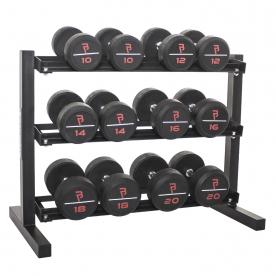 "Body Power 10,12,14,16,18 & 20Kg Pro Style Rubber D/bell Set & 40"" 3 Tier Rack"