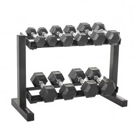 "Body Power 2,4,6,8 & 10Kg Rubber Hex D/Bell Set & 32"" 2 Tier Rack"