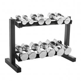 "Body Power 2,4,6,8,10 & 12.5Kg Ergo Chrome D/Bell Set & 32"" 2 Tier Rack"