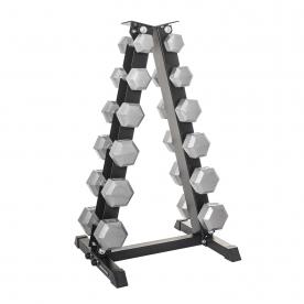 Body Power 5-17.5Kg Hex Dumbbell Weight Set & Rack