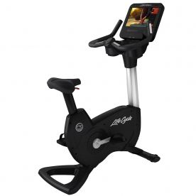 Life Fitness Platinum Club Series Upright Bike Discover SE3HD Console (Diamond White)