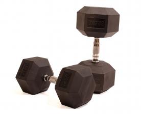 Body Power 32.5Kg Rubber Hex Dumbells (x2)