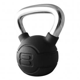 Jordan Fitness 8kg Black Rubber Kettlebell with Chrome Handle