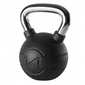 Jordan Fitness 14kg Black Rubber Kettlebell with Chrome Handle
